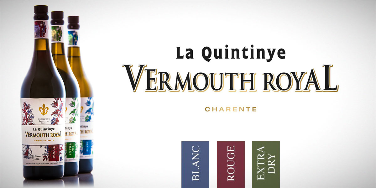 Vermouth Royal La Quintinye: Blanc, Rouge y Extra Dry.